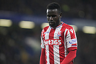 Mame Biram Diouf of Stoke city looks on. <br /> Premier league match, Chelsea v Stoke city at Stamford Bridge in London on Saturday 30th December 2017.<br /> pic by Kieran Clarke, Andrew Orchard sports photography.