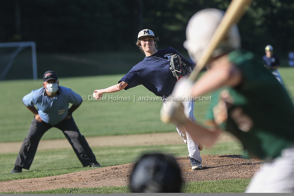 (7/6/20, MEDWAY, MA) Medway's Eli Joyce-Vorce delivers a pitch during the Senior Babe Ruth game against Hopkinton at Medway High School in Medway on Monday. There were no umpires at home plate as a COVID-19 precaution. [Daily News and Wicked Local Photo/Dan Holmes]