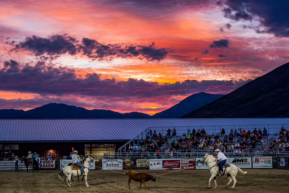 From left, Rope and Shane Piquet compete in team roping underneath a vibrant sunset during the Jackson Hole Rodeo at the Teton County Fairgrounds in Jackson, Wyoming on Saturday, Aug. 25, 2019. (Rebecca Noble/Jackson Hole News&Guide)