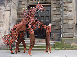 War Horse rears up under the direction of puppeteers Tom Quinn (right), Chris Charles (centre) and Sam Parker, ahead of Edinburgh Festival Theatre production 18042018 pic by Terry Murden @edinburghelitemedia