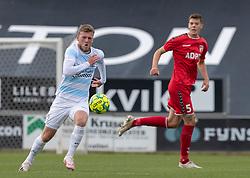 Teddy Bergqvist (FC Helsingør) under kampen i 1. Division mellem FC Fredericia og FC Helsingør den 4. oktober 2020 på Monjasa Park i Fredericia (Foto: Claus Birch).