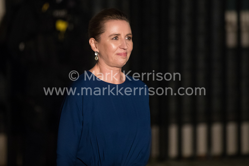 London, UK. 3 December, 2019. Mette Frederiksen, Prime Minister of Denmark, leaves following a reception for NATO leaders at 10 Downing Street on the eve of the military alliance's 70th anniversary summit at a luxury hotel near Watford.