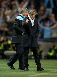 MANCHESTER, ENGLAND - Monday, April 30, 2012: Manchester City manager Roberto Mancini celebrates at full-time following the Premiership match at the City of Manchester Stadium. (Pic by Chris Brunskill/Propaganda)