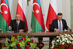 June 27, 2017 - Warsaw, Poland - President of Azerbaijan Ilham Aliyev (L) and President of Poland Andrzej Duda (R) at Presidential Palace in Warsaw, Poland on 27 June 2017  (Credit Image: © Mateusz Wlodarczyk/NurPhoto via ZUMA Press)
