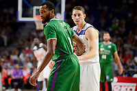Real Madrid's Jaycee Carroll and Unicaja Malaga's Kyle Fogg during semi finals of playoff Liga Endesa match between Real Madrid and Unicaja Malaga at Wizink Center in Madrid, June 02, 2017. Spain.<br /> (ALTERPHOTOS/BorjaB.Hojas)