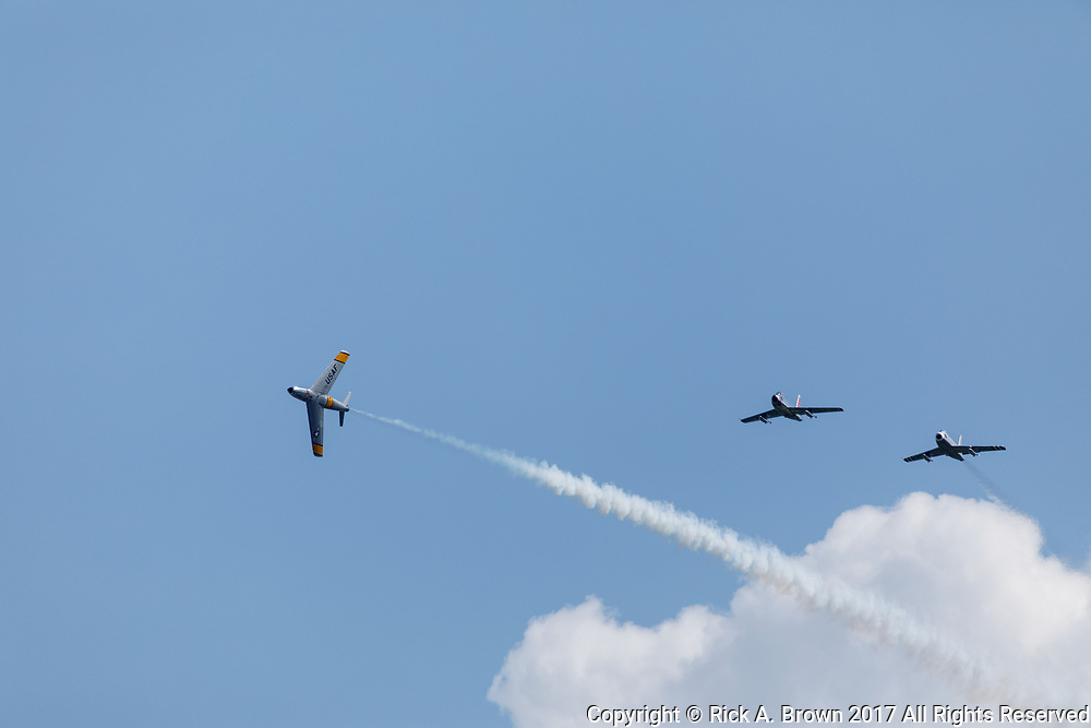 F--86 Sabers flying at Airventure 2017.