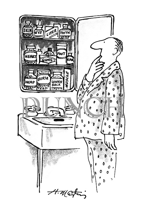 (a man contemplates his medicine cabinet which is full of medicines labelled with the part of the body they treat)