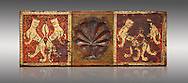 Gothic decorative painted beam panels with lions and a carved syalise tree, Tempera on wood. National Museum of Catalan Art (MNAC), Barcelona, Spain .<br /> <br /> If you prefer you can also buy from our ALAMY PHOTO LIBRARY  Collection visit : https://www.alamy.com/portfolio/paul-williams-funkystock/gothic-art-antiquities.html  Type -     MANAC    - into the LOWER SEARCH WITHIN GALLERY box. Refine search by adding background colour, place, museum etc<br /> <br /> Visit our MEDIEVAL GOTHIC ART PHOTO COLLECTIONS for more   photos  to download or buy as prints https://funkystock.photoshelter.com/gallery-collection/Medieval-Gothic-Art-Antiquities-Historic-Sites-Pictures-Images-of/C0000gZ8POl_DCqE