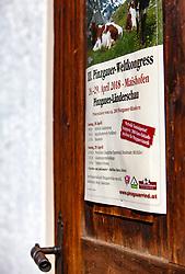 29.04.2018, Maishofen, AUT, XII Weltkongress Pinzgauer Rind, im Bild das Veranstaltungsplakat auf einer Holztür// the event poster on a wooden door during the XII Pinzgauer cattle World Congress in Maishofen, Austria on 2018/04/29. EXPA Pictures © 2018, PhotoCredit: EXPA/ Stefanie Oberhauser