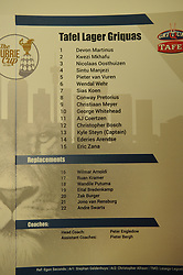 South Africa - Johannesburg, Emirates Airlines Park. 24/08/18  Currie Cup. Lions vs Griquas.<br /> The team sheet for the Griquas. Picture: Karen Sandison/African News Agency(ANA)