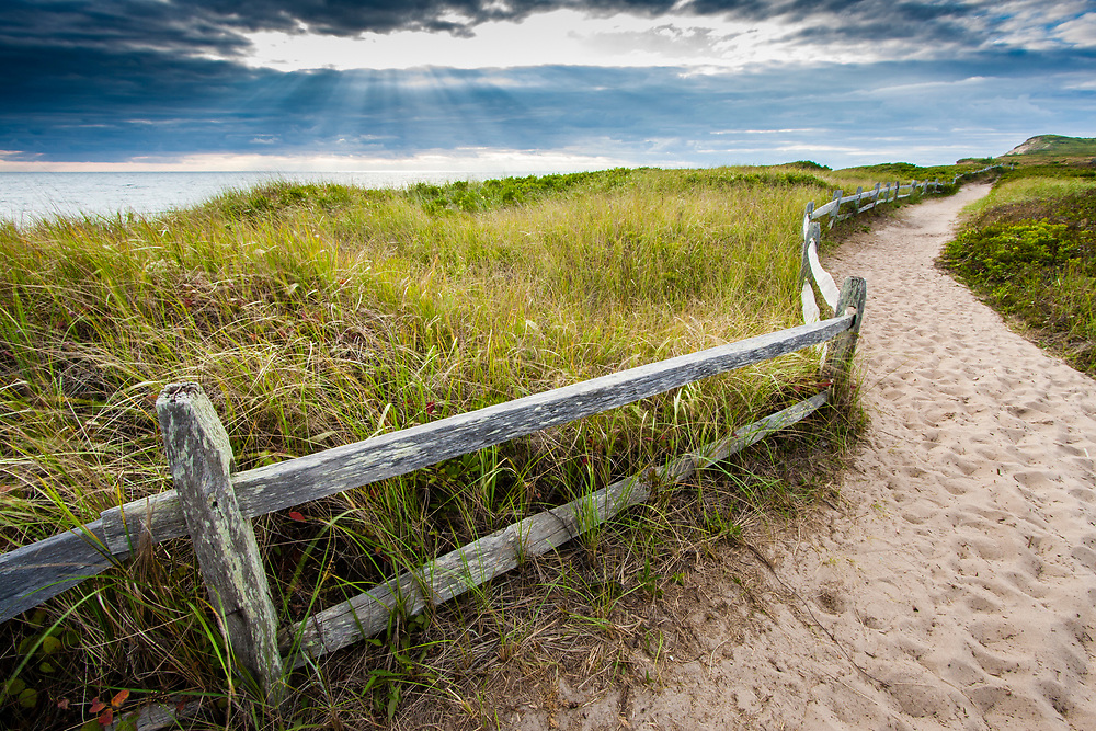 Sandy trails, sea grass, and rustic wood fences are classic ingredients of Martha's Vineyard.