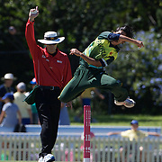 Javeria Wadood celebrates as she runs out Australian batter Alex Blackwell during the match between Australia and Pakistan in the Super 6 stage of the ICC Women's World Cup Cricket tournament at Bankstown Oval, Sydney, Australia on March 16 2009, Australia won the match by 107 runs. Photo Tim Clayton