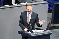 11 FEB 2021, BERLIN/GERMANY:<br /> Christian Lindner, MdB, FDP Fraktionsvorsitzender, haelt eine Rede, Debatte nach der  Regierungserklaerung der Bundeskanzlerin zur Bewaeltigung der Corvid-19-Pandemie, Plenum, Reichstagsgebaeude, Deutscher Bundestag<br /> IMAGE: 20210211-01-085<br /> KEYWORDS: Corona
