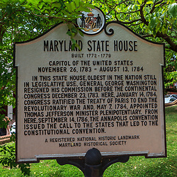 Annapolis, MD, USA - May 20, 2012: Hisoric Marker  at Maryland State House in Annapolis MD