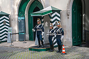National Republican Guard (Guarda Nacional Republicana) on duty outside the GNR General Headquarters in Largo do Carmo, Lisbon, Portugal