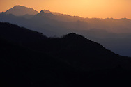 Sunset view from the hill behind the Louguantai temple, Xian, Shaanxi, China.