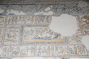 Dionysus Mosaic, Detail of the wedding of Dionysus and Ariadne Mosaic floor of the roman villa. Israel, Lower Galilee, Zippori National Park The city of Zippori (Sepphoris) A Roman Byzantine period city with an abundance of mosaics