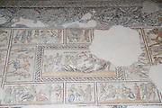 Dionysus Mosaic, Detail of the wedding of Dionysus and Ariadne Mosaic floor of the roman villa. Israel, Lower Galilee, Zippori National Park The city of Zippori (Sepphoris) A Roman Byzantine period city with an abundance of mosaics