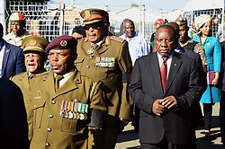 General Shoke and President Cyril Ramaphosa at the Madikizela-Mandela home during the Family Valedictory service ahead of the Special Official Funeral service for the late Winnie Madikizela-Mandela at Orlando Stadium in Soweto, Gauteng Province. South Africa. 14/04/2018. Siyabulela Duda
