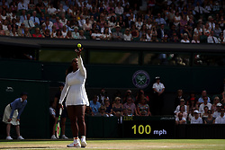 Serena Williams in action on day twelve of the Wimbledon Championships at the All England Lawn Tennis and Croquet Club, Wimbledon.