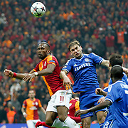 Galatasaray's Tebily Didier Yves Drogba (L) during their UEFA Champions League Round of 16 First leg soccer match Galatasaray between Chelsea at the AliSamiYen Spor Kompleksi in Istanbul, Turkey on Wednesday 26 February 2014. Photo by Aykut AKICI/TURKPIX