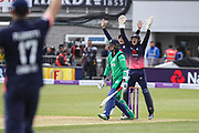 Sam Billings and Joe Root of England appeal unsuccessfully for a lbw during the One Day International match between England and Ireland at the Brightside County Ground, Bristol, United Kingdom on 5 May 2017. Photo by Andrew Lewis.
