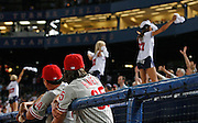 Phillies pitchers Freddy Garcia (L) and Cole Hamels (R) watch the Braves cheerleaders dance on the dugout during the game between the Atlanta Braves and the Philadelphia Phillies at Turner Field in Atlanta, GA on April 30, 2007..