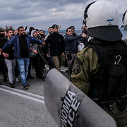 MANTAMADOS, GREECE - FEBRUARY 26: Mantamados villagers clash with police in protest of a new proposed migrant detention camp in Mantamados on the Greek Island of Lesvos on Wednesday, February 26, 2020. The neighboring island of Chios also held demonstrations for its planned detention center. (Photo by Byron Smith/Getty Images)
