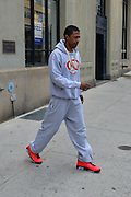 New York, New York, U.S. - <br /> <br /> Nick Cannon Out In New York<br /> <br /> NICK CANNON leaving his apartment in Tribeca wearing sports team sweatsuit, bright red orange shoes and huge gold chain. <br /> ©Exclusivepix
