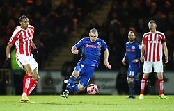 Rochdale's Scott Tanser attacks - Photo mandatory by-line: Matt McNulty/JMP - Mobile: 07966 386802 - 26/01/2015 - SPORT - Football - Rochdale - Spotland Stadium - Rochdale v Stoke City - FA Cup Fourth Round