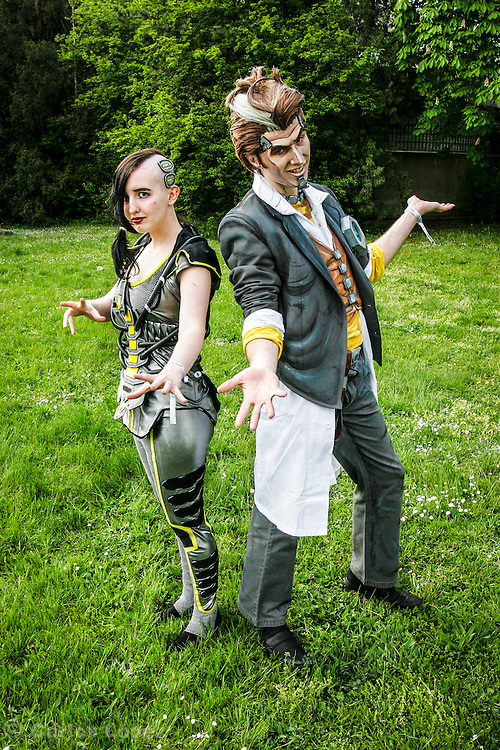 Handsome Jack and Angel from Borderland.  Cosplayer at Animefest 2015 in the city of Brno, czech republic.