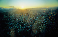 View from the observation deck of Taipei 101, formerly the tallest building in the world, the tallest building in Taiwan. The sun sets over the Taipei metropolis, Taiwan's capital city.
