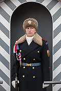 A female guard wears the Ruritanian-style uniform outside Prague Castle, at Hradcany-Prazsky Hrad Prague Castle, on 18th March, 2018, in Prague, the Czech Republic. Ater the Velvet Revolution in 1990 when the communist regime ended, Václav Havel, the first President of the Czech Republic wanted his guards's uniforms to be different from the khaki ones the communists wore and the basic ones found in neighboring countries. Havel chose Theodor Pistek, the Czech born artist and costume designer who won an Academy Award for Best Costume Design for the 1984 film Amadeus.