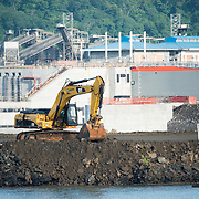 The construction site of the new locks being build adjacent to the existing Miraflores Locks on the Panama Canal in Panama City, Panama. Opened in 1914, the Panama Canal is a crucial shipping lane between the Atlantic and Pacific Oceans that mean that ships don't have to go around the bottom of South America or over the top of Canada. The Canal was originally built and owned by the United States but was handed back to Panama in 1999.