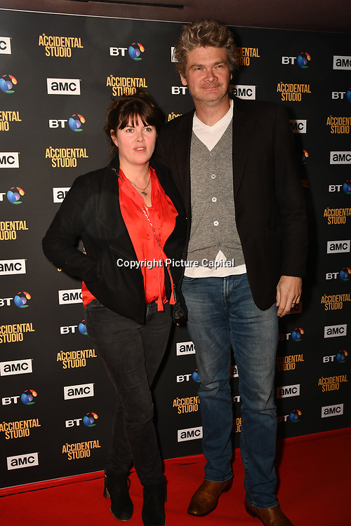 Simon Farnaby and Claire Kelean Arrivers at Premiere of documentary about the British film production company, Handmade Films, created by George Harrison of the Beatles on 27 March 2019, London, UK.