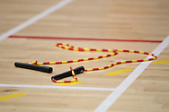 Loughborough, England - Saturday 31 July 2010: A discared rope seen during the World Rope Skipping Championships held at Loughborough University, England. The championships run over 7 days and comprise junior categories for 12-14 year olds in the World Youth Tournament, 15-17 year olds male and female championships, and any age open championships. In the team competitions, 6 events are judged, the Single Rope Speed, Double Dutch Speed Relay, Single Rope Pair Freestyle, Single Rope Team Freestyle, Double Dutch Single Freestyle and Double Dutch Pair Freestyle. For more information check www.rs2010.org. Picture by Andrew Tobin/Picture It Now.