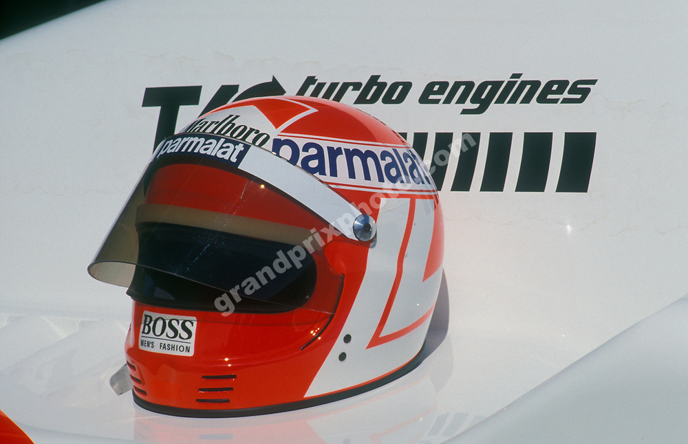 The helmet of McLaren-TAG Porsche driver Niki Lauda before the 1984 Brazilian Grand Prix at the Jacarepagua circuit outside Rio de Janeiro. Photo: Grand Prix Photo