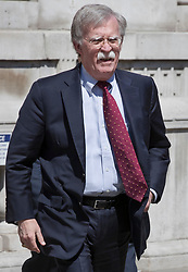 © Licensed to London News Pictures. 25/06/2018. London, UK. US National Security Advisor John Bolton leaves the Cabinet Office after visiting there for 2 hours and 20 minutes. It is also being reported that Mr Bolton spent more than an hour with the influential European Research Group of backbench Conservative Brexit supporting MPs. Photo credit: Peter Macdiarmid/LNP