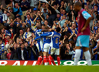 Photo: Alan Crowhurst.<br />Portsmouth v West Ham United. The Barclays Premiership. 14/10/2006. Players surround Andy Cole after he scores the second goal.