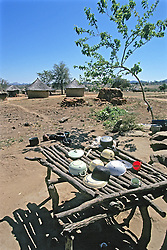 Village With Drying Dishes In Foreground