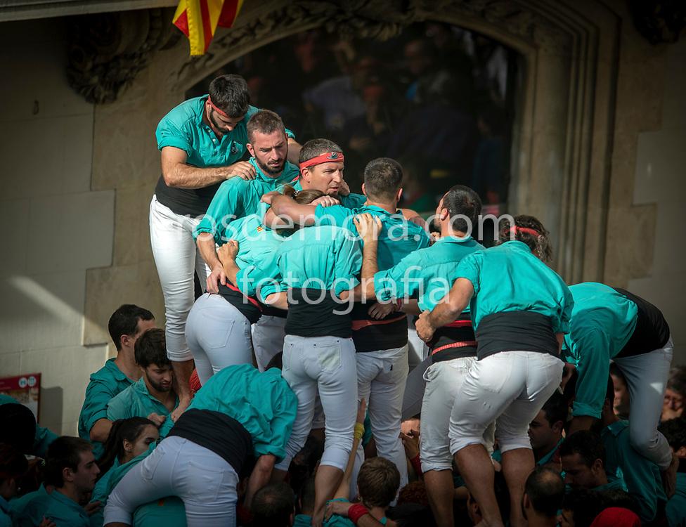 "Members of Castellers de Vilafranca build ""2 of 9 fm"" human tower of extreme difficulty in the last performance of the season in Vilafranca del Penedès,Barcelona, Spain. 1st Nov 2019."