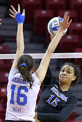 23 November 2017:  Nikkie White attacks towards Gillian Gergen during a college women's volleyball match between the Drake Bulldogs and the Indiana State Sycamores in the Missouri Valley Conference Tournament at Redbird Arena in Normal IL (Photo by Alan Look)