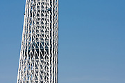 Detail image of Tokyo Sky Tree under construction. Tokyo, Japan. Monday June 21st 2010. In this image the unfinished telecommunication tower stands at 398 metres high, Upon completion it will measure 634 metres from top to bottom, becoming the tallest structure in East Asia.