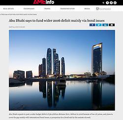 AMEinfo website; Dusk skyline of Abu Dhabi, UAE