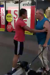 © Licensed to UK  News in  Pictures. Ryde Isle of Wight Tuesday 11th July 2017.  A couple who abused a mixed race person have been caught on camera. <br /> The pair, a man called Chris and a woman in a mobility scooter, admit to calling a man a n****r in the street in Ryde on the Isle of Wight. <br /> The five minute film captured a woman who is claiming DLA on a crutch chasing the person filming the footage and at one point attacking him with the crutch after lunging to grab the phone and demanding that the footage be deleted. <br /> The incident happened yesterday afternoon when the pair where on their way home. Tempers continued to become heated as the abuse kept coming and the man was attacked by Chris in the blue shirt whilst the woman asked if the man was filming.<br /> Whilst the woman than asks if the man filming is Gay With Video :https://youtu.be/wguq7cfG0vs©UKNIPPhoto credit:UKNIP