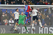 Christian Benteke of Crystal Palace heads the ball in to score his sides 1st goal and makes it 1-1. Emirates FA Cup 3rd round replay match, Crystal Palace v Bolton Wanderers at Selhurst Park in London on Tuesday 17th January 2017.<br /> pic by John Patrick Fletcher, Andrew Orchard sports photography.
