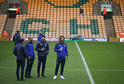 Nottingham Forest players walk on the pitch as they arrive ahead of their Sky Bet Championship match at Carrow Road, Norwich