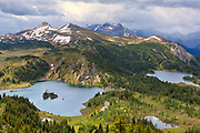 Rock Isle Lake (left) and Laryx Lake (right) in Alpine region of the Canadian Rocky Mountains. Sunshine Meadows. <br /><br />Alberta<br />Canada