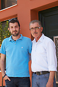 Yiannis Papadopoulos, owner, with son. Wine Art Estate Winery, Microchori, Drama, Macedonia, Greece