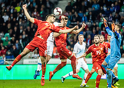 Josip Iličić of Slovenia and Robert Berić of Slovenia vs Stole Dimitrievski of Macedonia and Visar Musliu of Macedonia and Darko Velkoski of Macedonia during football match between National teams of Slovenia and North Macedonia in Group G of UEFA Euro 2020 qualifications, on March 24, 2019 in SRC Stozice, Ljubljana, Slovenia.  Photo by Matic Ritonja / Sportida